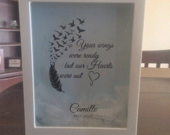 """Personalized """"Your wings were ready but our Hearts were not"""" Shadow Box, Home Decor, Keepsake, Custom, Wall Art"""