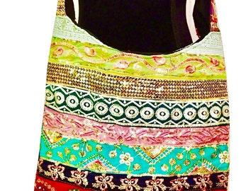 Women cotton Handmade artisan Ethnic indian vintage boho hand Embroidered with sequin, mirror and ari Work Crossbody Shoulder Handbag tote.