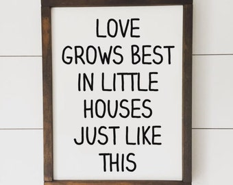 Love Grows Best // Framed Wood Sign // Farmhouse Decor // Farmhouse Sign