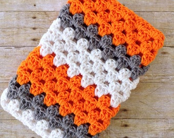 Crochet baby blanket, UT Vols, collegiate baby blanket, orange and grey nursery bedding, baby shower gift, Tennessee Vols nursery