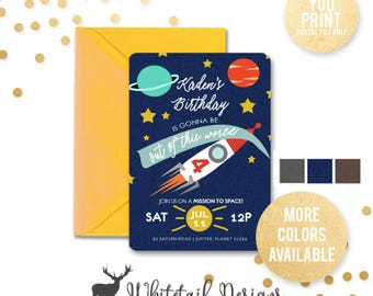 Outer Space Birthday Invitation, Mission Space Party Invite,  Outer Space Party Invitation, Space Birthday Invite, DIGITAL YOU PRINT
