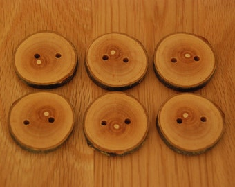 6 Handmade Wooden Buttons 35mm Tree Branch Buttons Sewing Knitting Craft