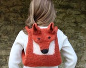 Knitting Pattern (UK) for Ferdinand - a felted fox bag.  Knitted in chunky yarn then felted in the washing machine. Backpack or shoulder bag