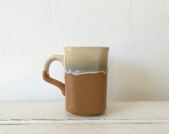Vintage Studio Pottery Stoneware Drip Glaze Mug / Tan Brown / Earthenware