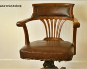 vintage armchair chair captain industrial antique revolving leather