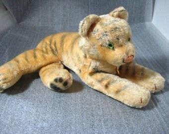 "Vintage Hermann Teddy Original Tiger Stuffed Animal 15"" Mohair Plush Toy"