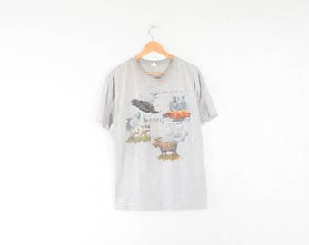 1996 ALASKA ANIMALS TEE // size adult large // 1990s // t shirt // bear // gray / eagle / animals / nineties / baggy / unisex / vtg vintage
