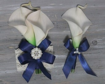 Wrist Corsage Calla Lily Corsage Boutonniere Ivory  Bridal Accessories  Weddings Ivory Calla Lilies Corsage Wedding Corsage Bridal Corsage
