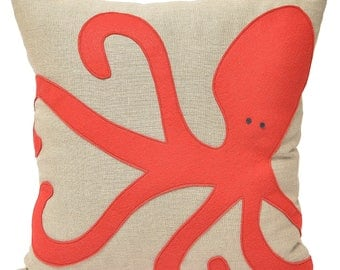 16x16 Red Octopus wool on linen pillow, home decor, beach house, squid, sea life, coastal, kids room, throw pillow, The Salty Cottage