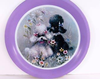 Kitsch retro 60's poodle purple tray - delightful dogs in a field of flowers