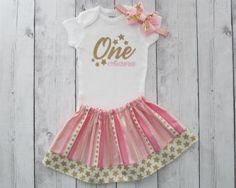 Twinkle Twinkle Little Star First Birthday Outfit in Pink and Gold - star headband, girl birthday outfit, twirl skirt, stars, personalized