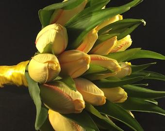 Yellow Tulip Wedding Bouquet, Yellow Bride bouquet,  Yellow Bridesmaid Bouquet,  Spring Wedding, Tulip Bouquet, Tulip wedding theme