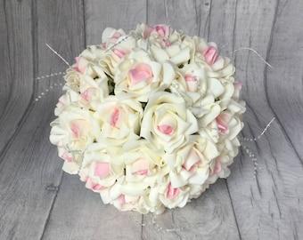 Ivory Pink Wedding Bouquet, Ivory  Bouquet, Artificial Rose Bouquet, Bride's Bouquet, Pink and Ivory Bouquet, Ivory Wedding Theme