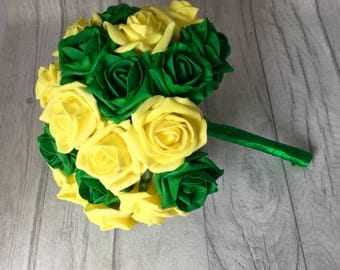 SALE! Norwich City Wedding Bouquet, Green and Yellow  Wedding Bouquet,  Theme Bouquet, Soccer Bouquet, Green Bouquet, Yellow Bouquet