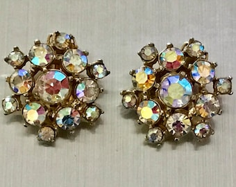 Vintage AB Rhinestone Clip Earrings