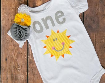 You Are My Sunshine First Birthday Outfit with matching yellow and grey headband!