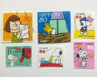 Snoopy postmark stamps ~1(6 pcs)