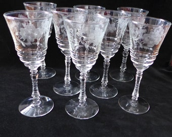 """Set of 8  Libbey Rock Sharpe Floral Pattern Tall Wine Glasses 3.25 X 7.85""""H Excellent!"""