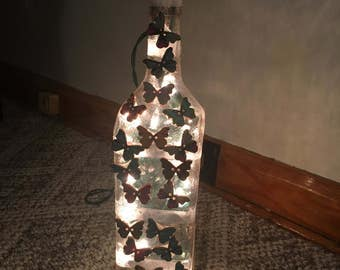 Butterfly lighted bottle