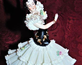 SALE MINT in BOX Frankenthal Signed Dresden Lace Spanish Flamenco Dancer West Germany