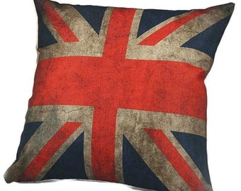 Vintage Weathered British Flag - Pillow Cover