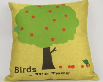 Birds in the Apple Tree - Pillow Cover