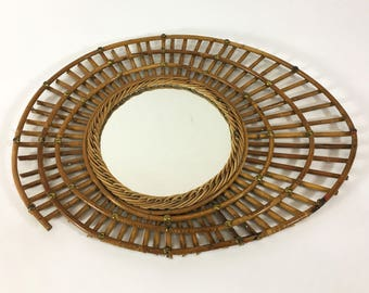Bamboo mirror, France, 1950's-1960's.