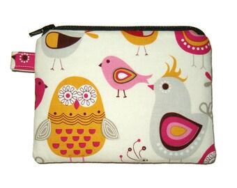 Boho Owl Bird Coin Purse - Padded Zipper Pouch - Change Purse - Owl Purse - Bird Purse - Pink Purse - Boho Purse