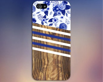 Navy White Dark Wood x Striped Watercolor Flowers Phone Case, iPhone 7, iPhone 7 Plus, Tough iPhone Case, Galaxy s8, Samsung CASE ESCAPE