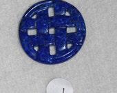 Lapiz, Lapis, Lapis Cabochon, Basket Weave, Hand Carved, Gemstone, Lapidary, Natural Stone, Natural Lapis, 30mm