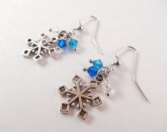 Snowflake Charm Earrings - Blue Swarovski Beaded Snowflake Charm Earrings