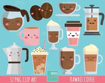 80% SALE COFFE clipart, commercial use, kawaii clipart, Latte, mug, instant download, mocha, frappe, coffe cups clipart, scrapbook, cute