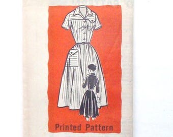 Vintage 50's Mail Order Dress Sewing Pattern #9368 - Pre-Cut/FF - Size 14 (bust 34)