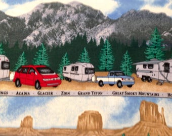 VTG Cotton Fabric FQ - Fabric Traditions 2001 RV Camper National Park Mountains Desert Sky Camping