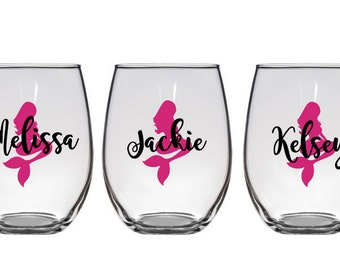 Mermaid Wine Glasses, Mermaids, Personalized Wine Glasses,Bachelorette Glasses, Bachelorette Party Wine Glass, Girls Night Out