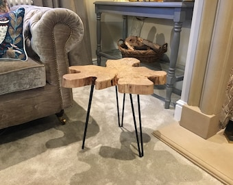 live edge wood slice table with hairpin legs