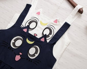 Luna and Artemis Sailor Moon 100% Cotton Embroidered Size S M