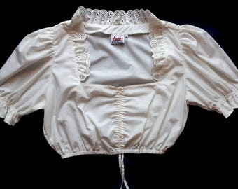 Vintage White Dirndl Puffy Sleeves Top Blouse Size L