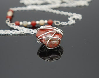 Red jasper wire wrapped necklace
