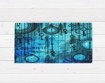 Throw Rug Area Rug,Steam Punk Ocean Blue