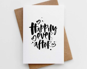 Modern Wedding Card - Marriage Card - Love Card - Mr and Mrs Cards - Happily Ever After Card