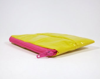 Yellow wallet, eco friendly purse, gift for her, gift for him, coin purse, sustainable wallet, recycled pouch, small wallet, mini wallet