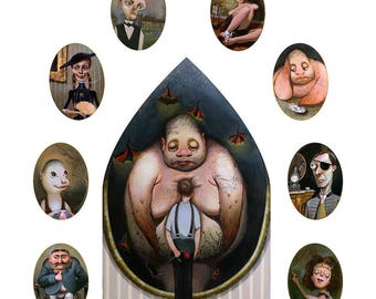 The Illustrated Man. Ray Bradbury Prints. Strange Paintings. Gothic Decor