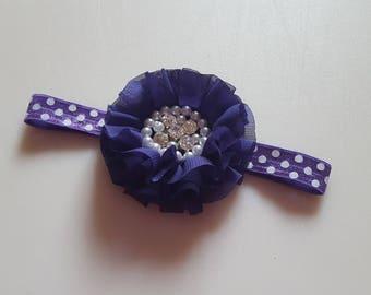 PURPLE Chiffon Ruffled Pearl Rhinestone Flower Headband