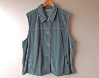 Thick Green Corduroy Button Down Vest - Size 3X