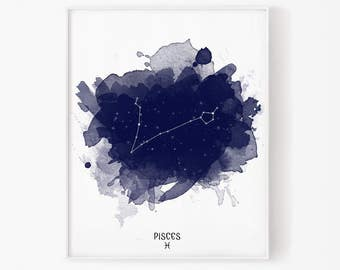 pisces print, pisces zodiac, february zodiac, march zodiac, pisces art, zodiac print, stars constellation, astrology, astronomy, star map