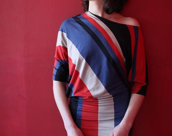 Jersey dress asymmetrical stripes