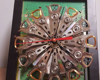 Wall Clock or Deck Clock made from Recycled Computer Hard Drives - Black Frame - Circuit Board - Father's Day Gift Unique Computer Parts