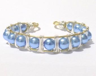 wire wrap cuff bracelet, wire cuff, cuff bracelet, bracelet, blue bracelets, silver bracelets