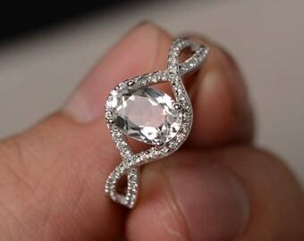 Oval Cut Green Amethyst Ring Engagement Rings Silver Split Shank